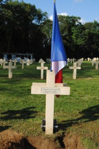 The new plaque on the grave of brothers, Appolinaire and Francois Ruelland