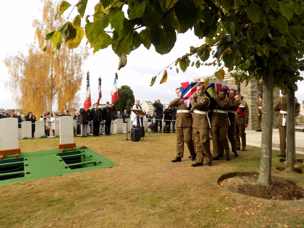 Harry Carter's coffin is carried in by the soldiers of the Royal Anglian Regiment