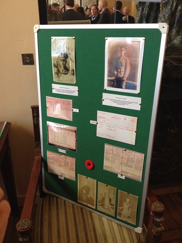 Information board on both soldiers at the reception in Albert Town Hall