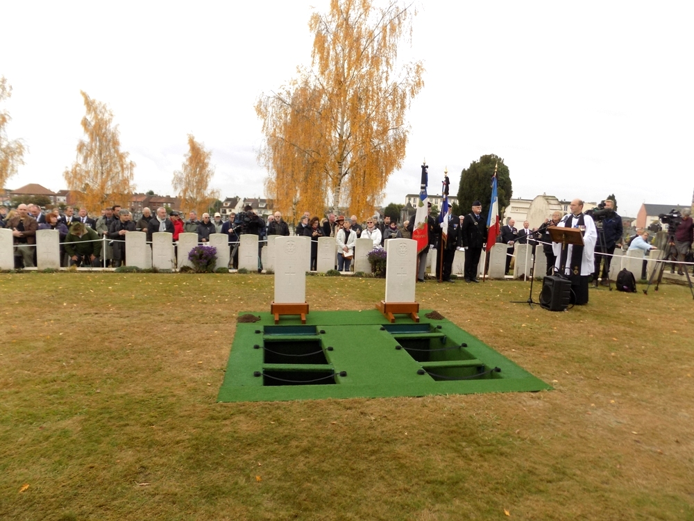 The open graves before the beginning of the service