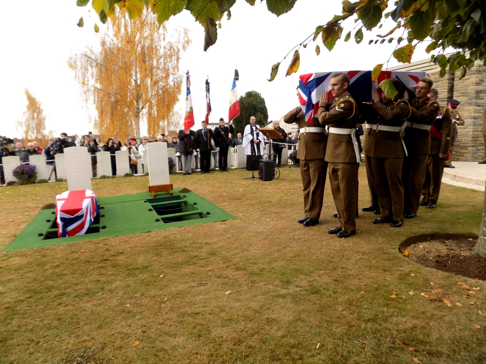 William Marmon's coffin is carried in by the soldiers of the Royal Anglian Regiment