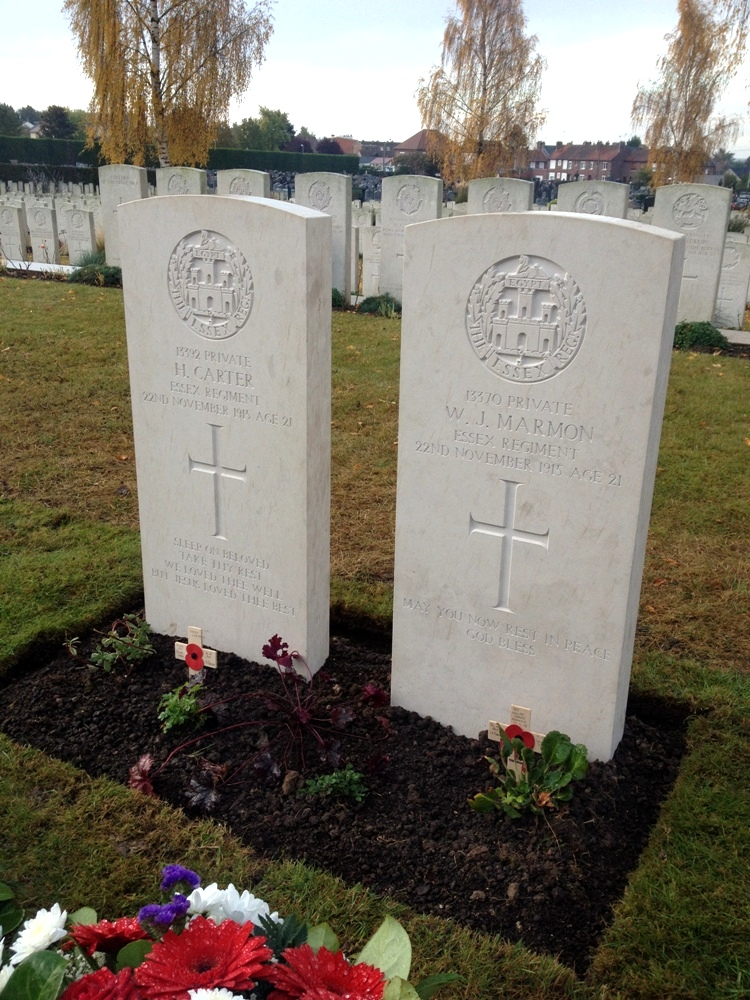 The new graves of Harry Carter and William Marmon.